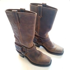 FRYE 12R Harness brown leather cowgirl moto boots